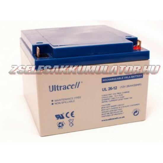 Ultracell 12V 26Ah Zselés akkumulátor
