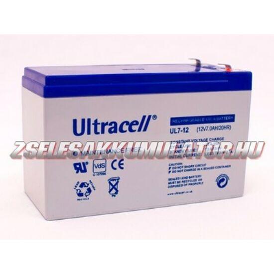 Ultracell 12V 7Ah Zselés akkumulátor