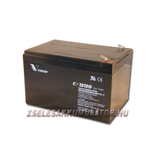 Vision 12V 12Ah Ciklikus zselés akkumulátor elektromos kerékpárba
