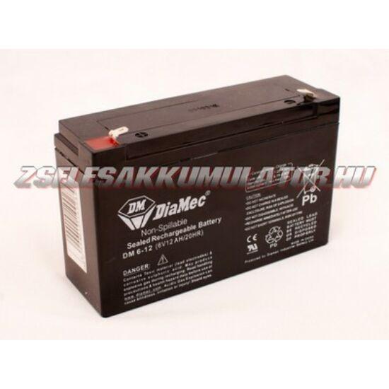 Diamec 6V 12Ah Zselés akkumulátor
