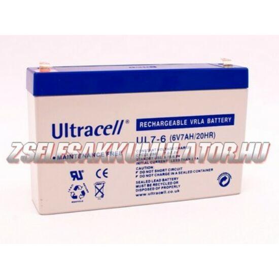 Ultracell 6V 7Ah Zselés akkumulátor