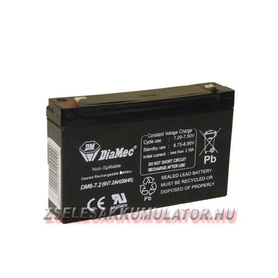 Diamec 6V 7,2Ah Zselés akkumulátor