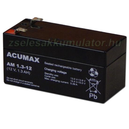 Acumax 12V 1,3Ah Zselés akkumulátor AM 1.3-12