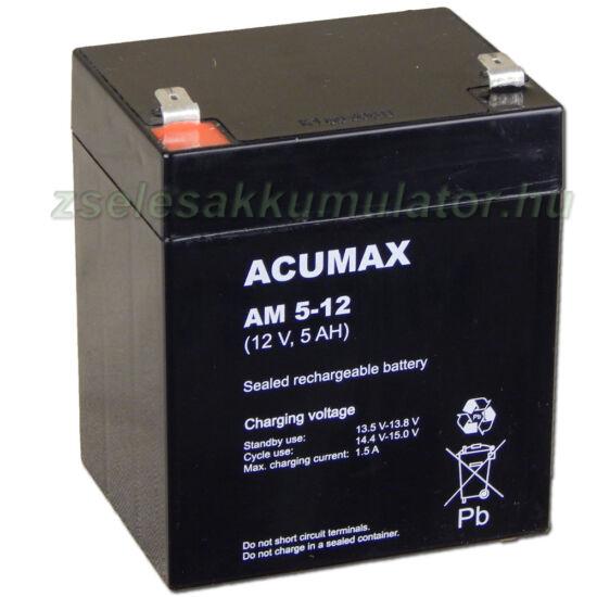 Acumax 12V 5Ah zselés akkumulátor