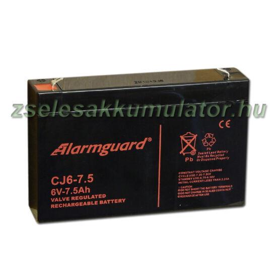 Alarmguard 6V 7,5Ah Zselés akkumulátor CJ 6-7,5