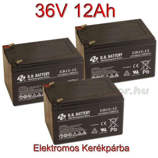 BB Battery 12V 12Ah Ciklikus zselés akkumulátor elektromos kerékpárba-36V-os csomag ingyen szállítással