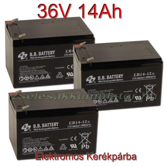 BB Battery 12V 14Ah Ciklikus zselerékpárba-36V-os csomag ingyen szállítással