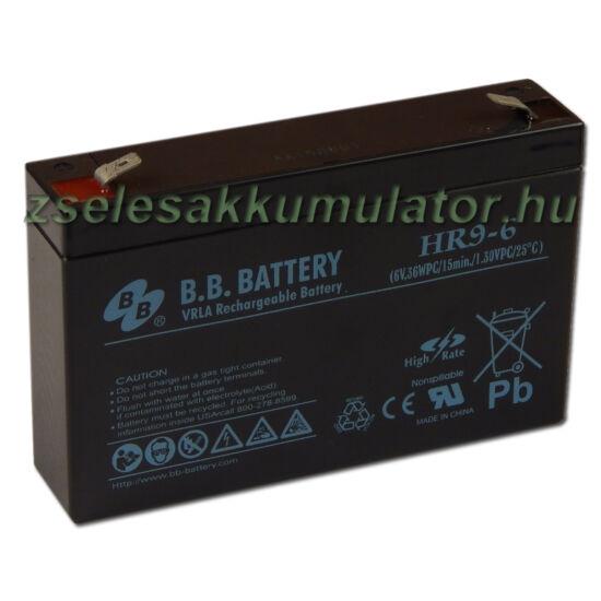 BB Battery 6V 9Ah Zselés akkumulátor T2
