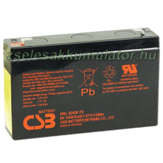 CSB 6V 9Ah Zselés Akkumulátor HRL 634WF2