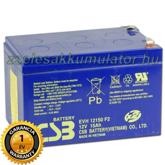CSB 12V 15Ah Ciklikus zselés akkumulátor elektromos kerékpárba EVH 12150 F2 (6DZM12)