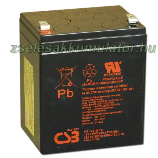 CSB 12V 5,1Ah Zselés Akkumulátor HR 1221W F2