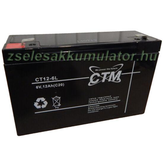 CTM 6V 12Ah Zselés akkumulátor