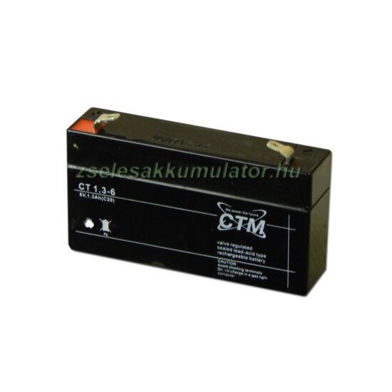 CTM 6V 1,3Ah Zselés akkumulátor CT1,3-6