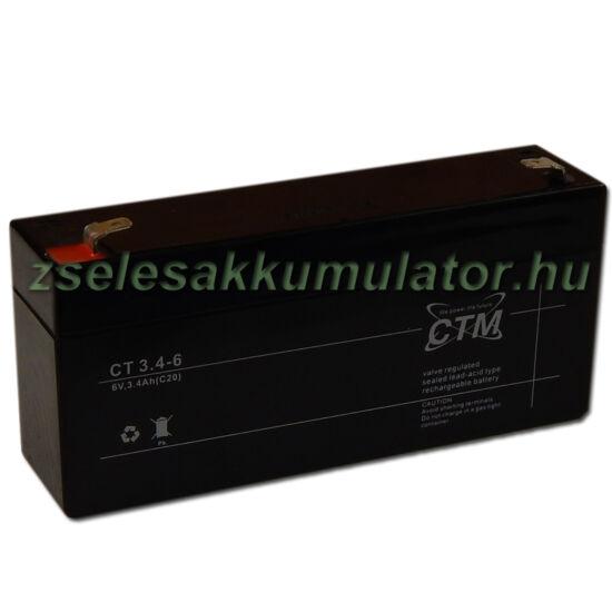CTM 6V 3,4Ah zselés akkumulátor