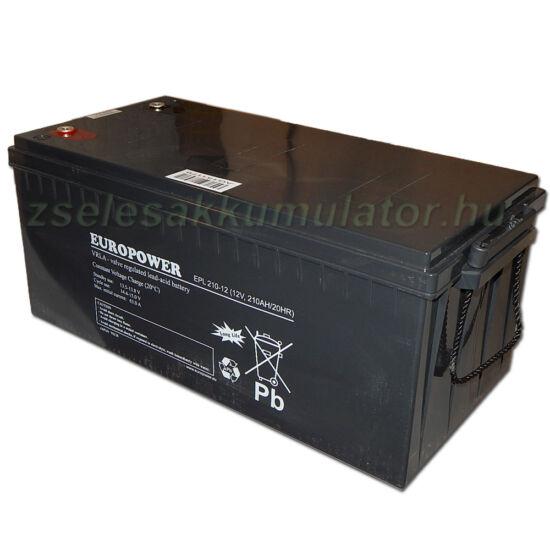 Europower 12V 210Ah Ciklikus zselés akkumulátor 200Ah méretben