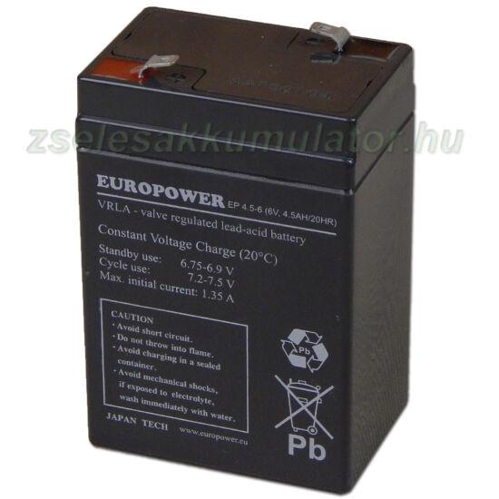 Europower 6V 4,5Ah Zselés akkumulátor EP 6-4,5
