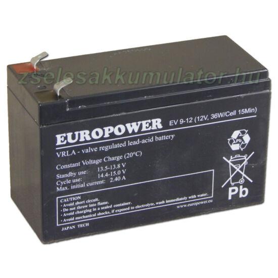 Europower 12V 9Ah Zselés akkumulátor EV9-12