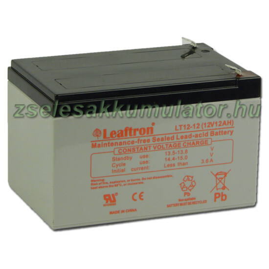 Leaftron 12V 12Ah  Zselés akkumulátor LT12-12 F2