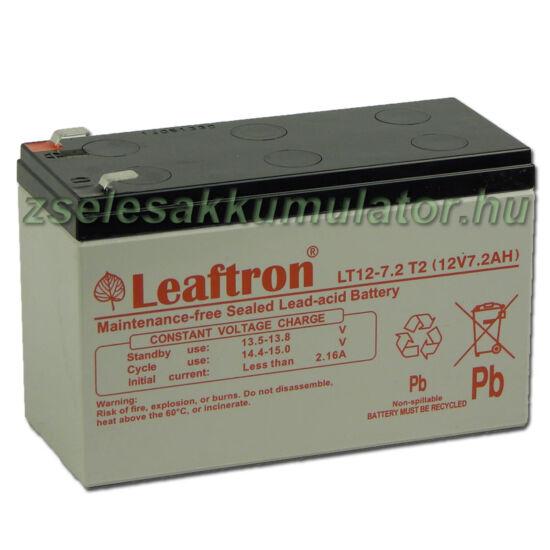 Leaftron 12V 7,2Ah  Zselés akkumulátor LT12-7,2 F2
