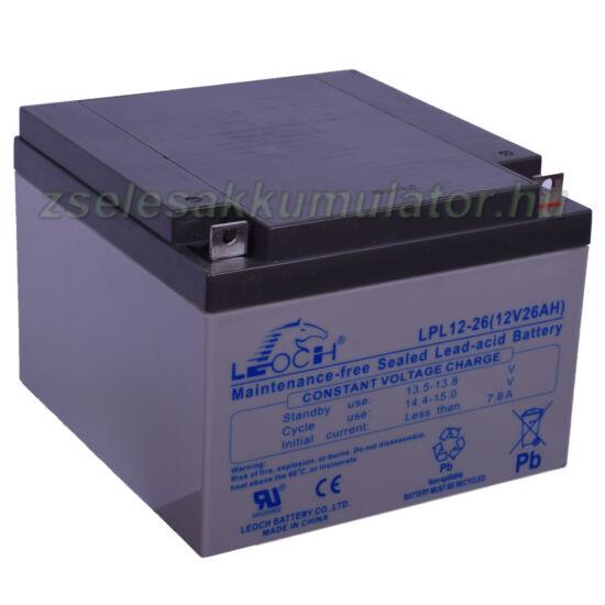 Leoch LPL12-26 12V 26Ah Zselés akkumulátor