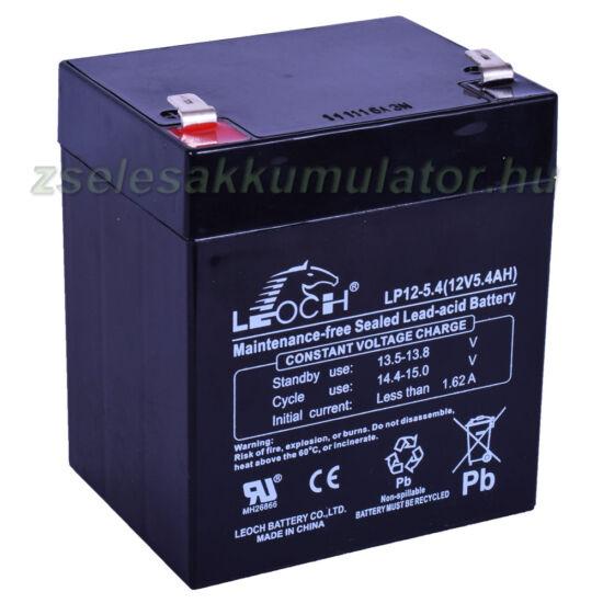 Leoch 12V 5,4Ah Zselés akkumulátor LP12-5.4