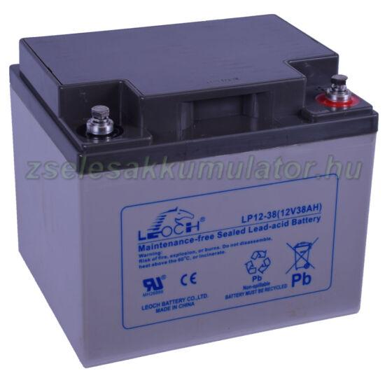 Leoch 12V 38Ah Zselés akkumulátor LP12-38