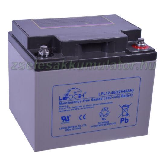 Leoch 12V 40Ah Longlife Zselés akkumulátor LPL12-40