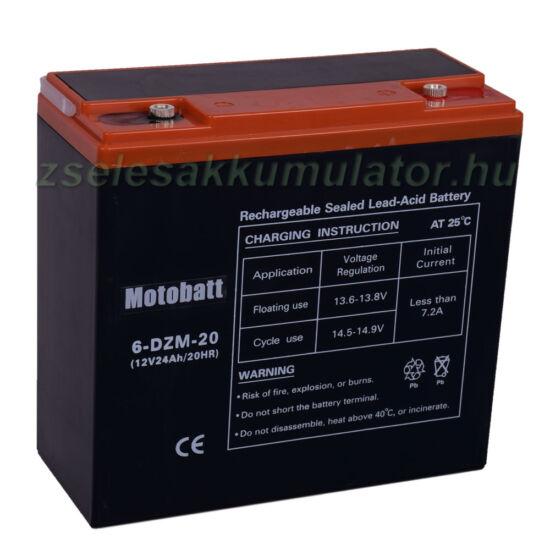 Motobatt (6-DZM-20) 12V 24Ah Ciklikus zselés akkumulátor elektromos kerékpárba