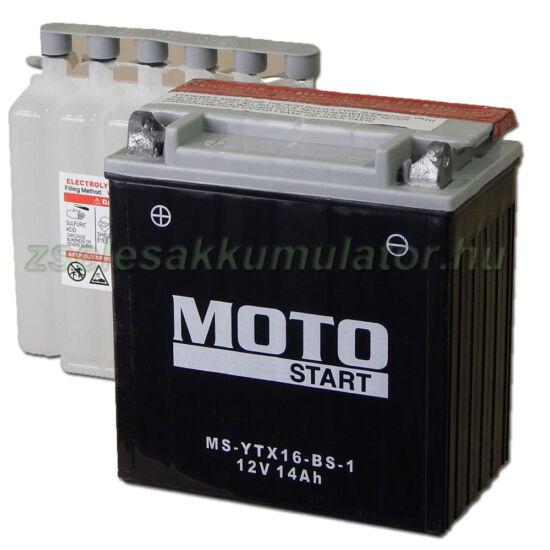 MotoSTART YTX16-BS-1 12V 14Ah gondozásmentes AGM (zselés) motor akkumulátor