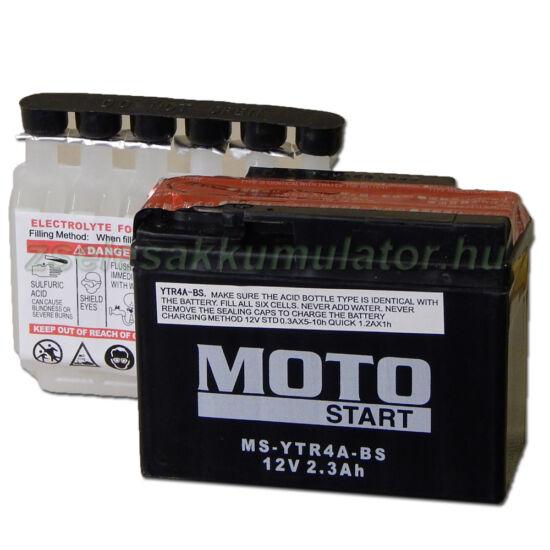 MotoSTART YTR4A-BS 12V 2,3Ah gondozásmentes AGM (zselés) motor akkumulátor