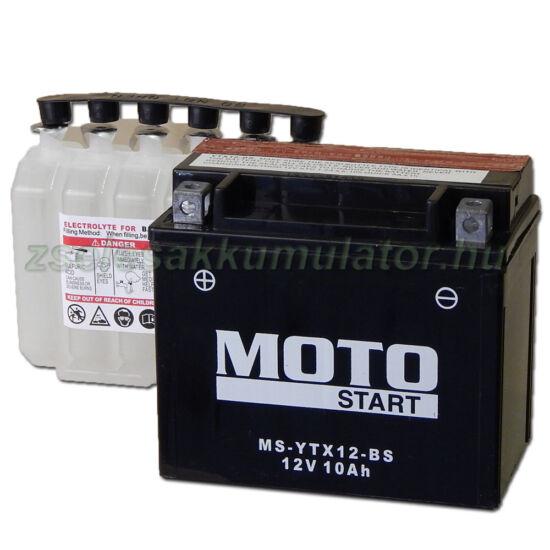 MotoSTART YTX12-BS 12V 10Ah gondozásmentes AGM (zselés) motor akkumulátor