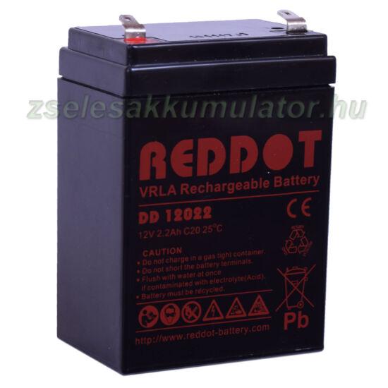 RedDot 12V 2,2Ah Zselés akkumulátor álló kivitel