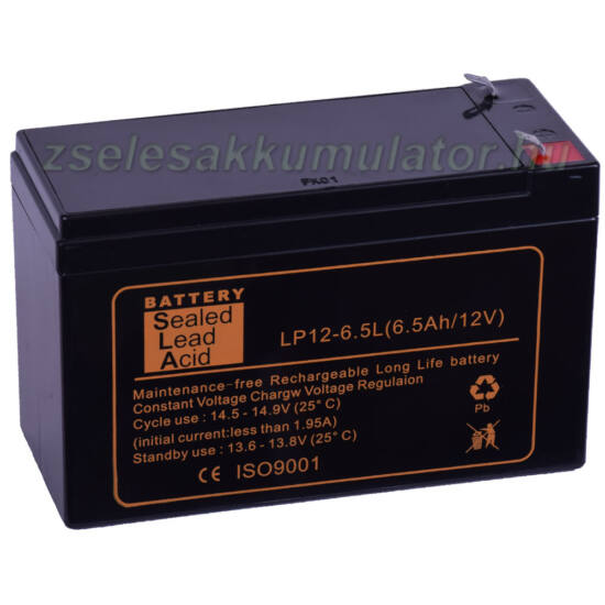 SLA 12V 6,5Ah LONGLIFE Zselés akkumulátor