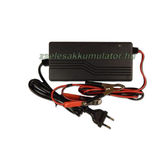 Zselés akkumulátor töltő 36V 3A töltőáram csipeszes csatlakozóval