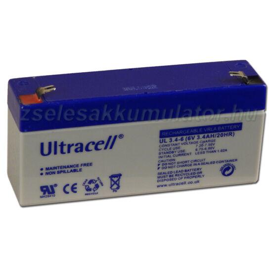 Ultracell 6V 3,4Ah Zselés akkumulátor