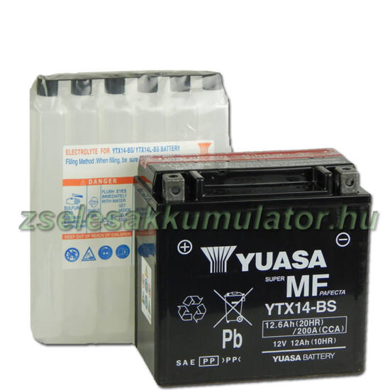 Yuasa YTX14-BS 12V 12Ah gondozásmentes AGM (zselés) motor akkumulátor