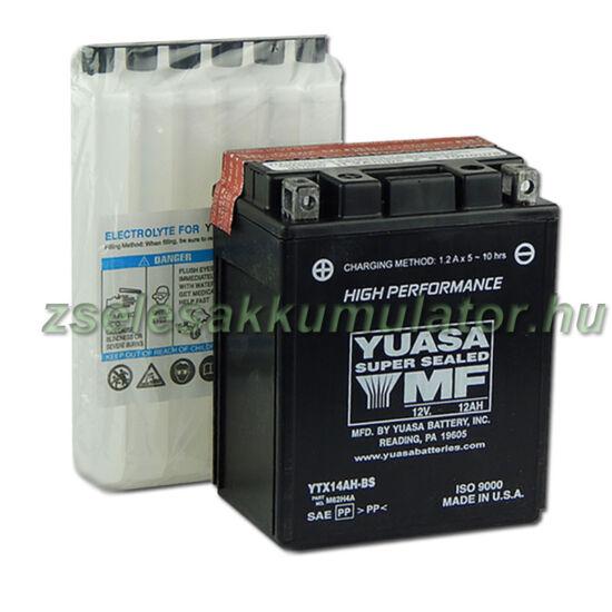 Yuasa YTX14AH-BS 12V 12Ah gondozásmentes AGM (zselés) motor akkumulátor