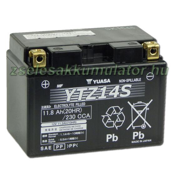 Yuasa YTZ14S (YTZ14-S)12V 11,2Ah gondozásmentes AGM (zselés) motor akkumulátor