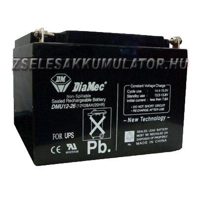 Diamec 12V 26Ah Zselés akkumulátor