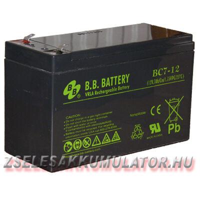 BB Battery 12V 7Ah Zselés akkumulátor T1