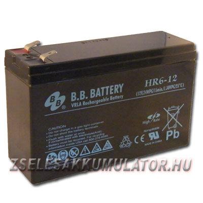 BB Battery 12V 6Ah Zselés akkumulátor