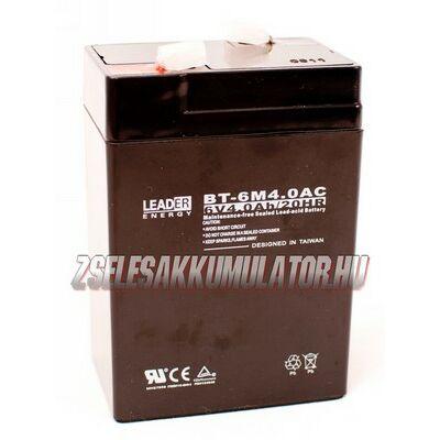 Leader 6V 4Ah Zselés akkumulátor
