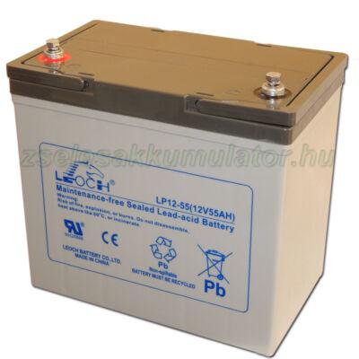 Leoch 12V 55Ah Zselés akkumulátor