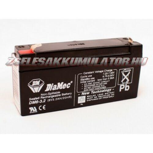 Diamec 6V 3,2Ah Zselés akkumulátor