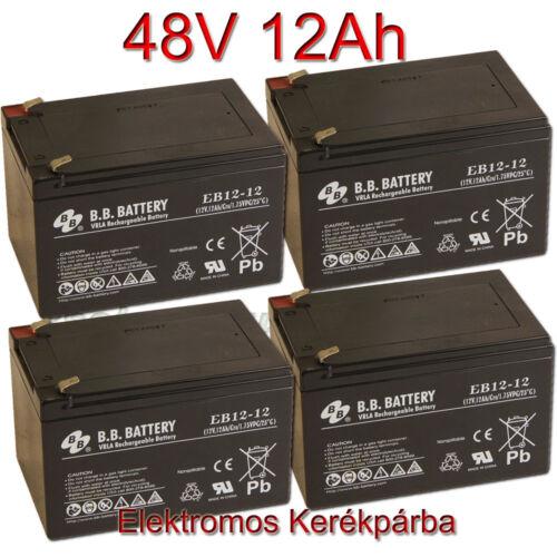 BB Battery 12V 12Ah (6-dzm-12) Ciklikus zselés akkumulátor elektromos kerékpárba-48V-os csomag ingyen szállítással