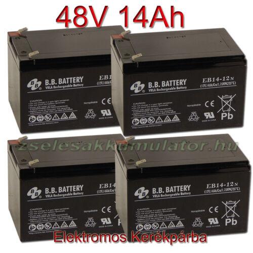 BB Battery 12V 14Ah Ciklikus zselés akkumulátor elektromos kerékpárba-48V-os csomag ingyen szállítással