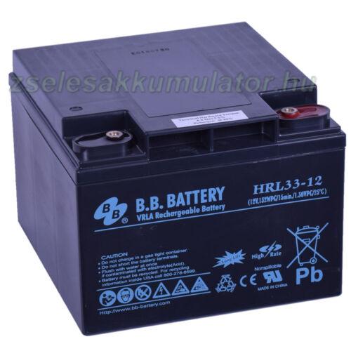 BB Battery 12V 33Ah  Longlife Zselés akkumulátor HRL33-12