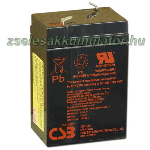 CSB 6V 4,5Ah Zselés Akkumulátor GP 645