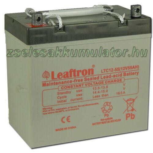 Leaftron 12V 55Ah Ciklkus Zselés Akkumulátor LTC12-55