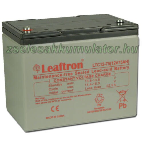 Leaftron 12V 75Ah Ciklkus Zselés Akkumulátor LTC12-75